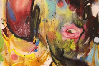 Love? No I'm Too Messy mixed media on canvas 22 x 60