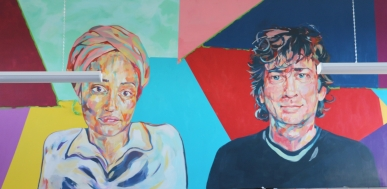In process: Chesterton College Mural, Zadie Smith and Neil Gaiman (with Kate Kelly)